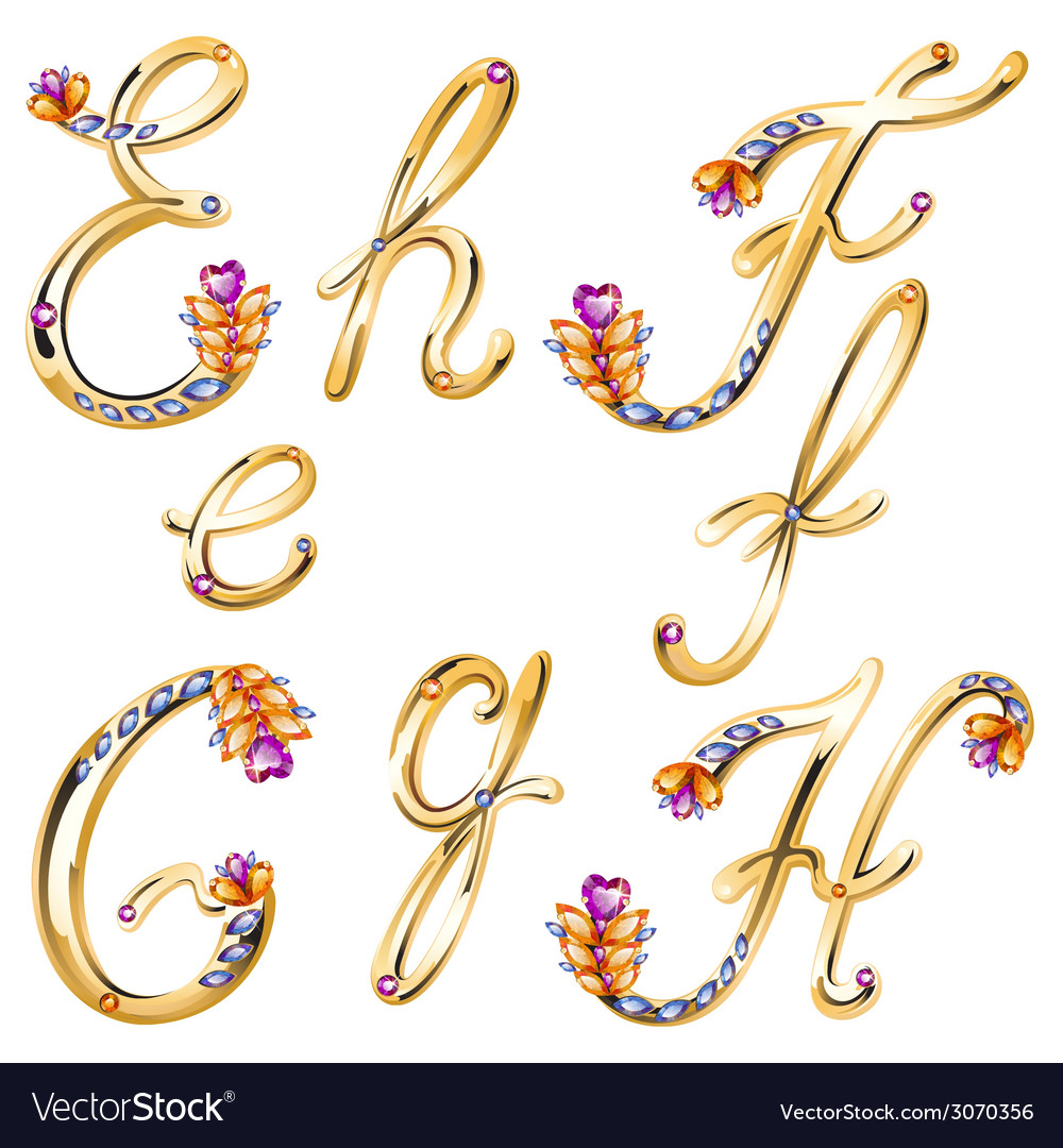 Bronze alphabet with colored gems letters efgh vector | Price: 1 Credit (USD $1)