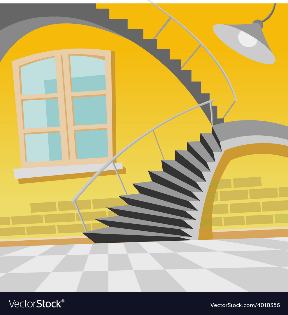 Cartoon interior staircase curve in the room vector | Price: 3 Credit (USD $3)