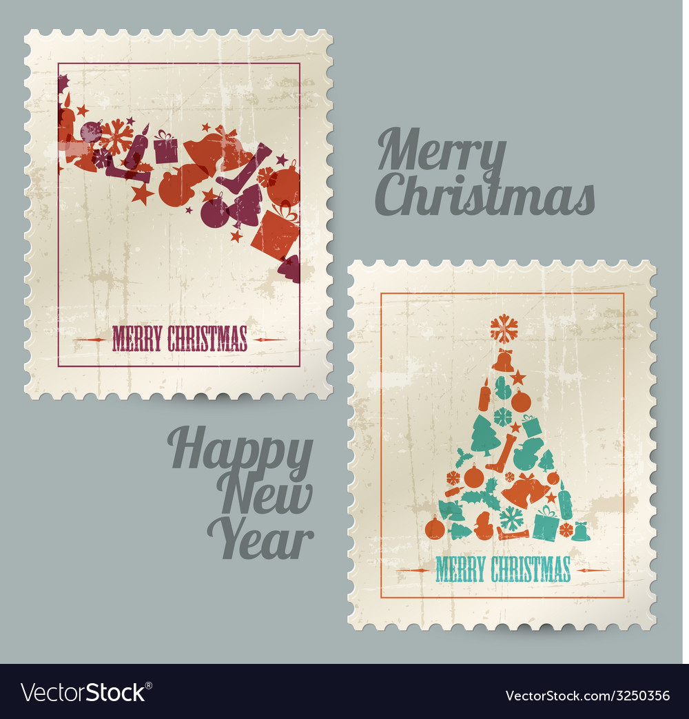 Collection of christmas vintage postage stamps vector | Price: 1 Credit (USD $1)
