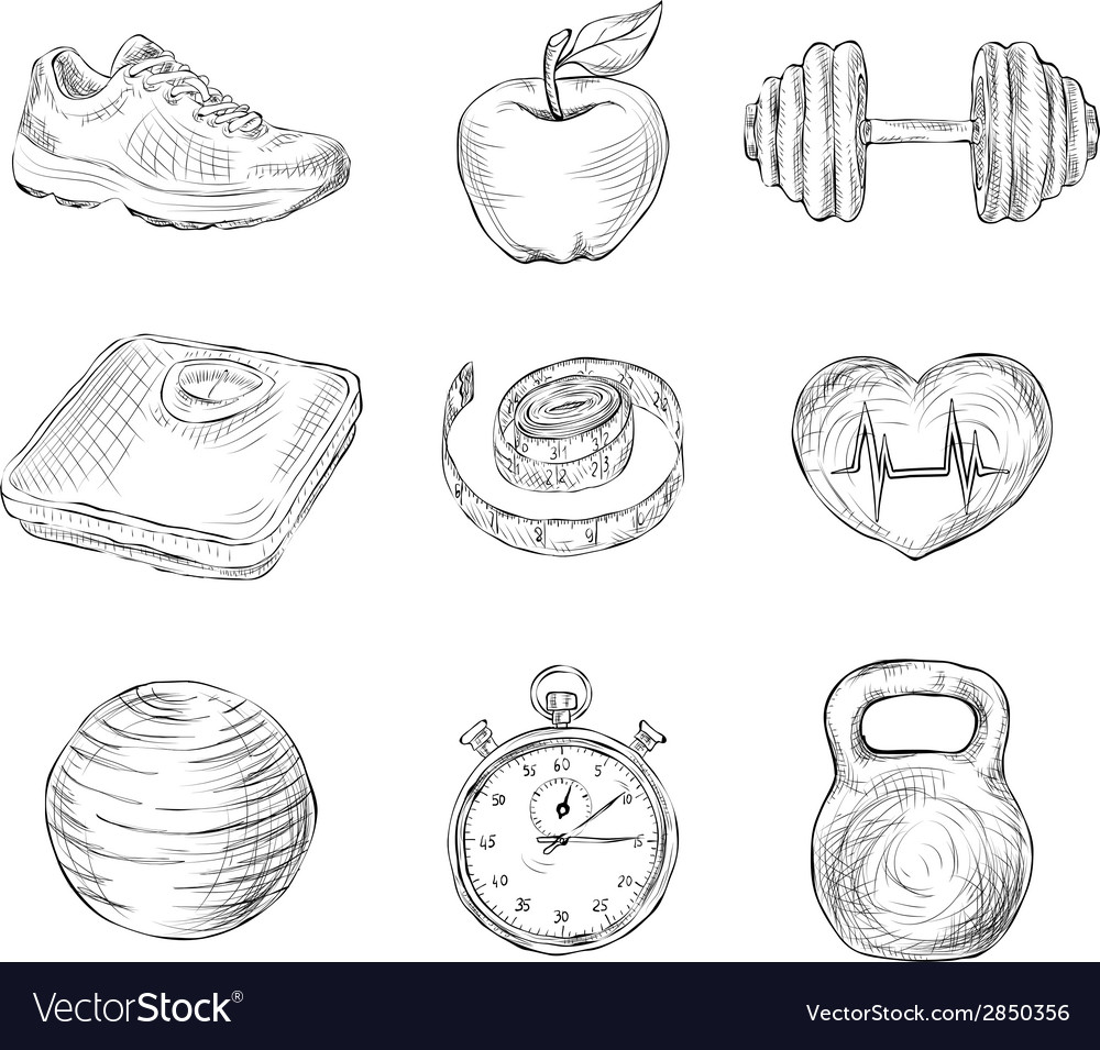 Fitness sketch icons vector | Price: 1 Credit (USD $1)