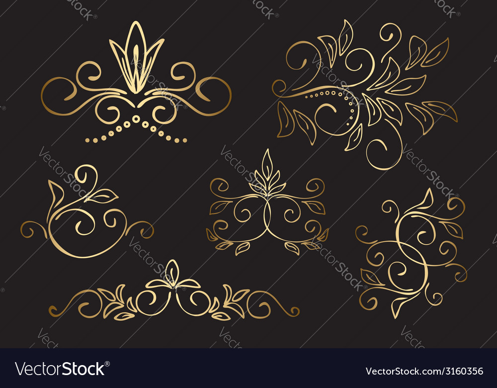 Gold floral design elements - set vector | Price: 1 Credit (USD $1)