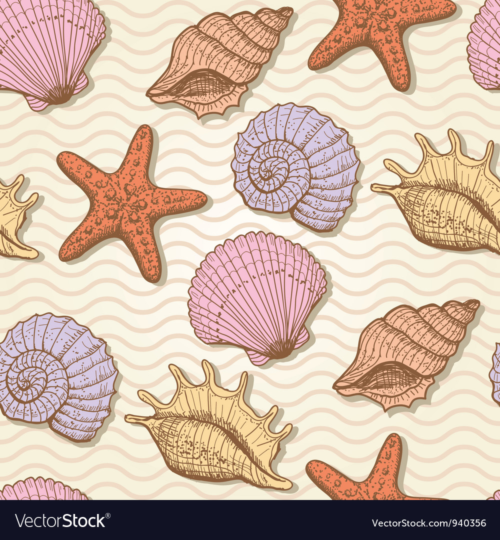 Sea hand drawn seamless pattern vector | Price: 1 Credit (USD $1)
