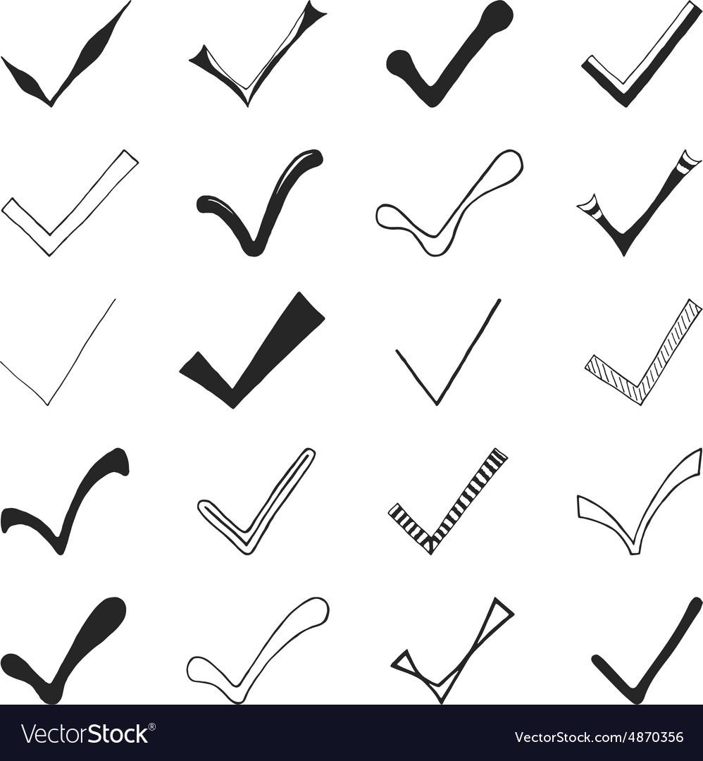 Set of hand drawn check marks vector