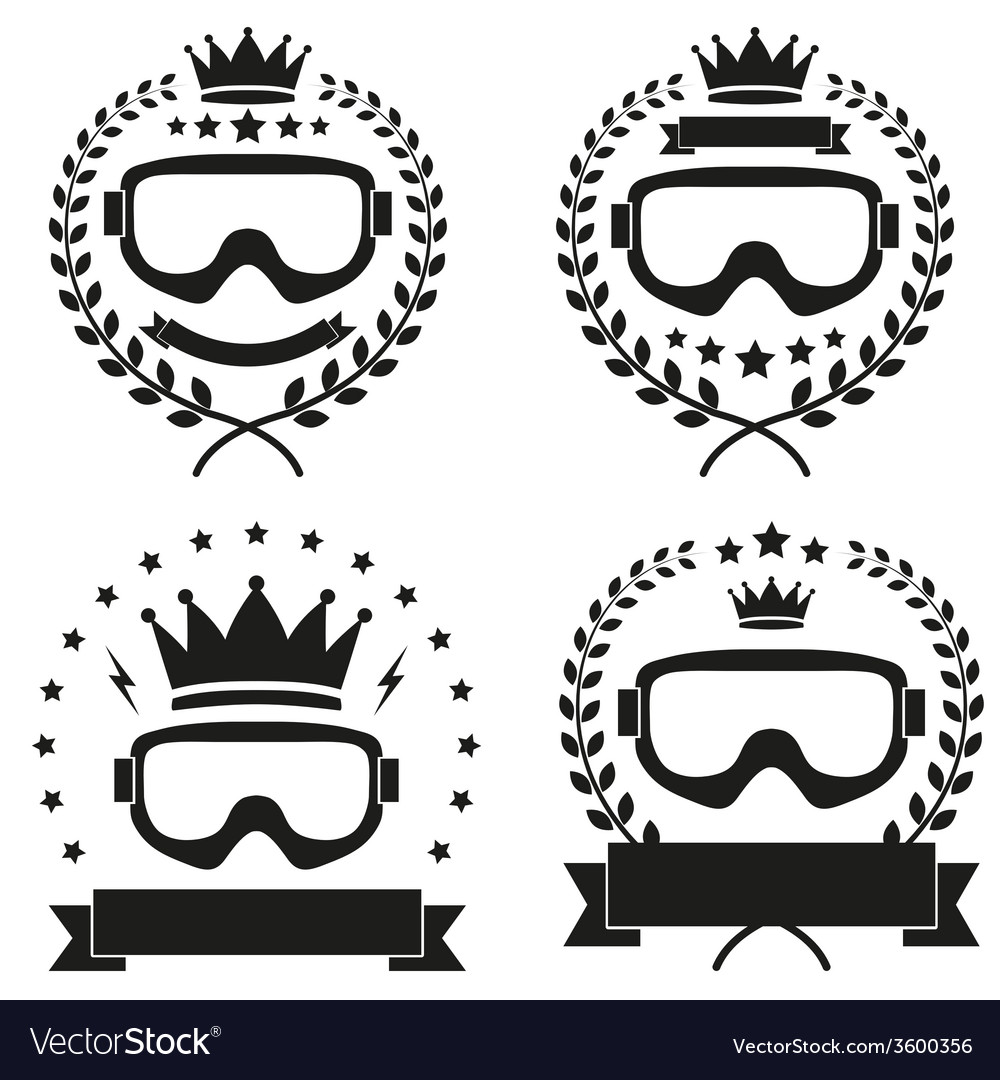 Set of vintage ice snowboarding or ski club badge vector | Price: 1 Credit (USD $1)