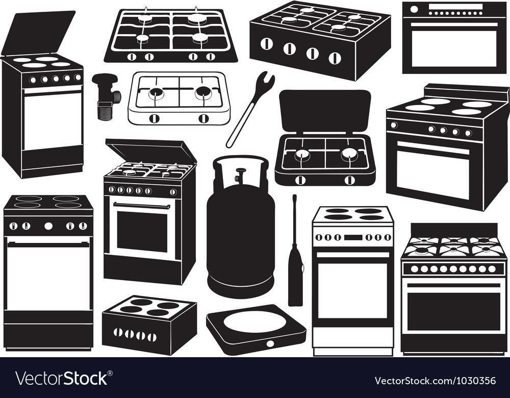 Stove set vector | Price: 1 Credit (USD $1)