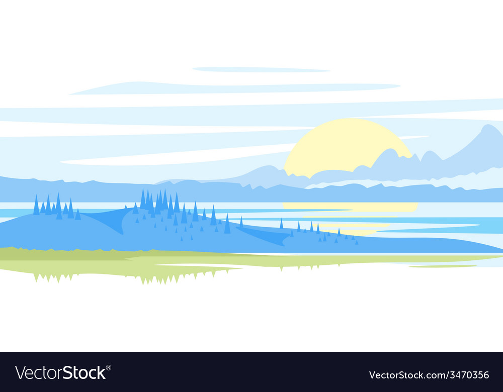 Sunrise landscape vector | Price: 1 Credit (USD $1)