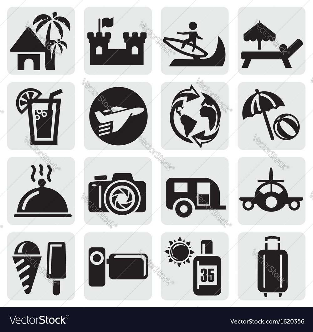 Tourism set icons vector | Price: 1 Credit (USD $1)