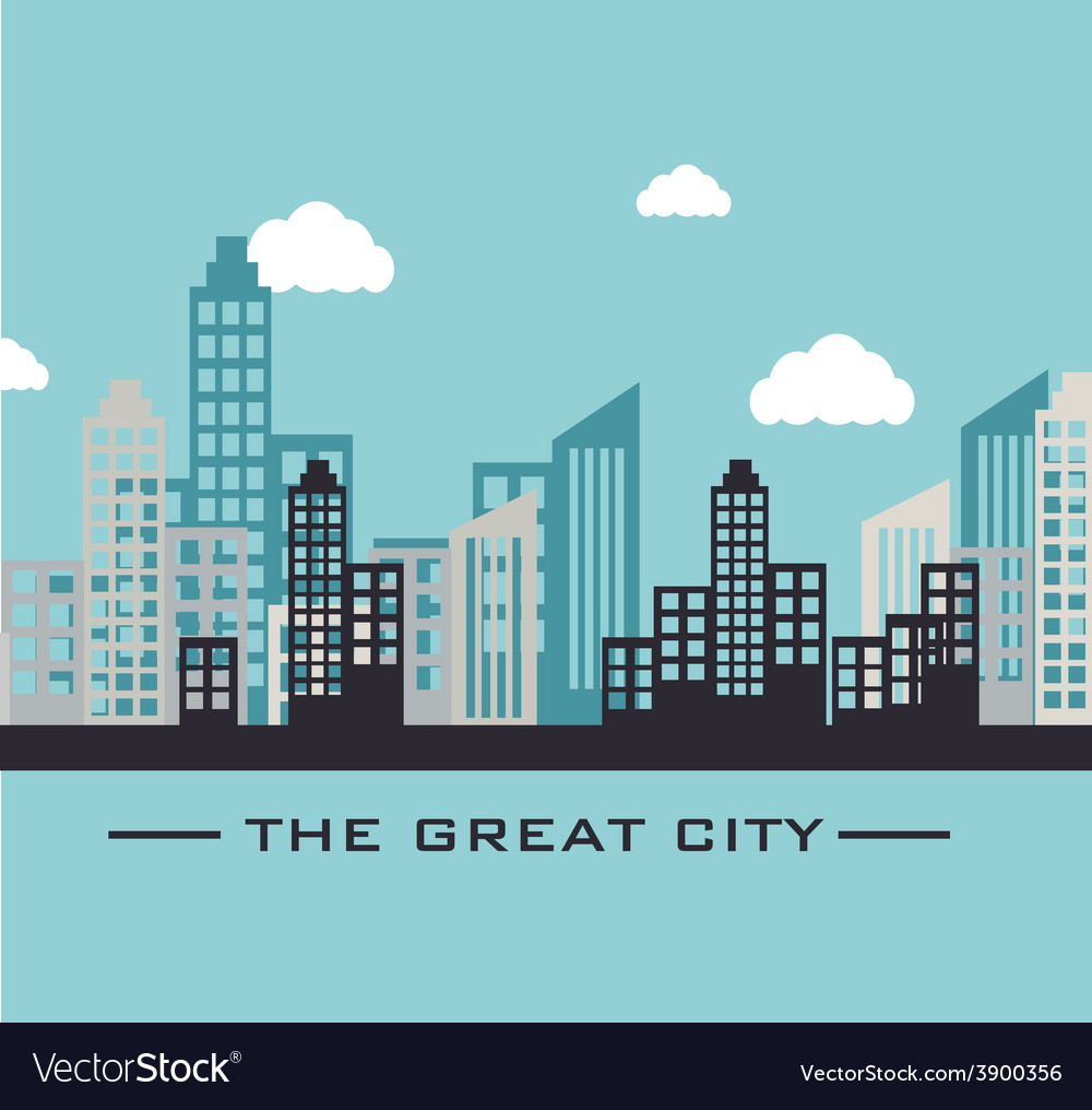 Urban design over blue design vector | Price: 1 Credit (USD $1)