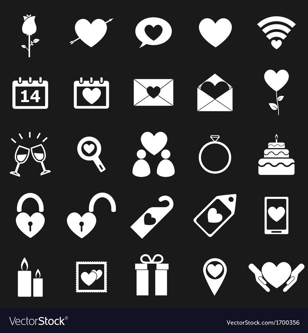 Valentines day icons on black background vector | Price: 1 Credit (USD $1)