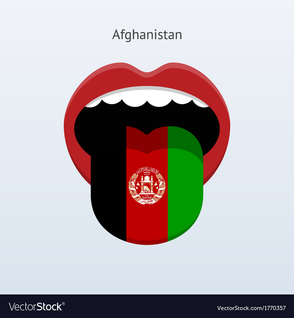 Afghanistan language abstract human tongue vector | Price: 1 Credit (USD $1)