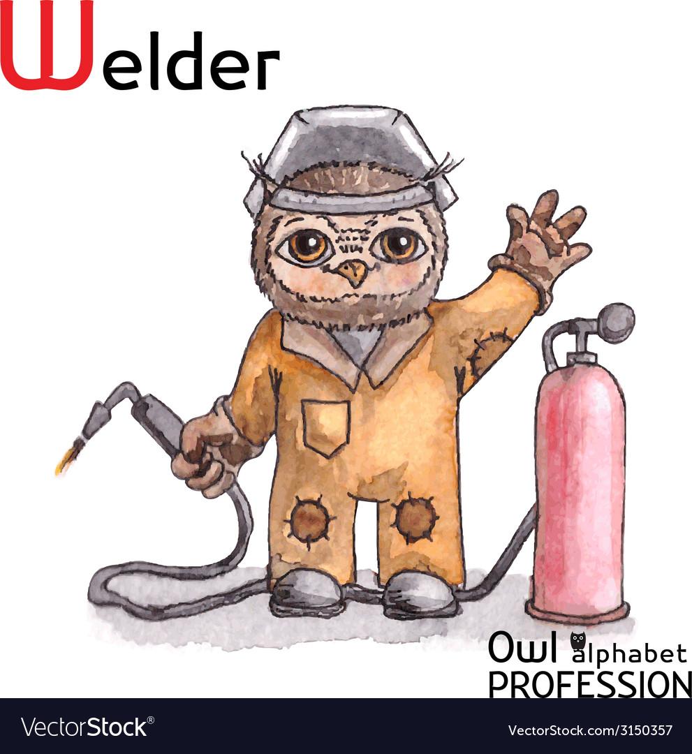 Alphabet professions owl letter w - welder vector | Price: 1 Credit (USD $1)