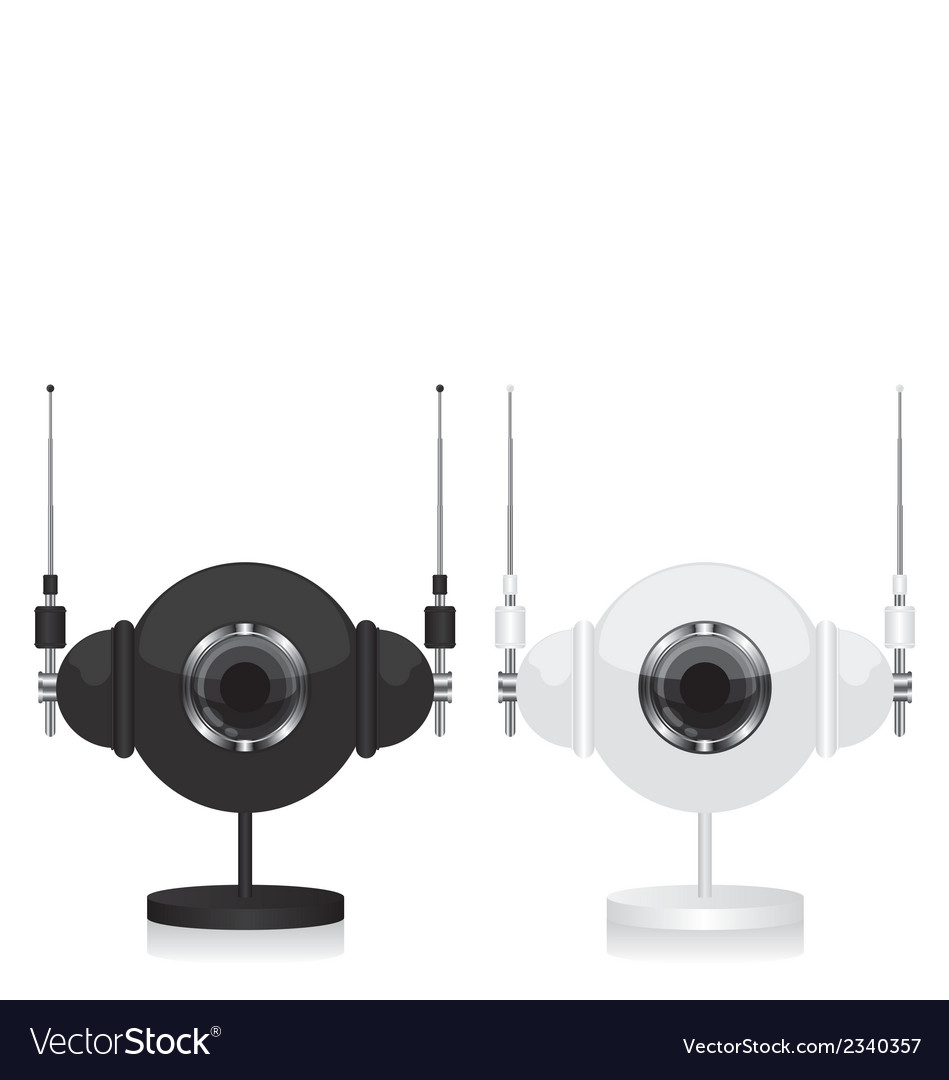 Black and white eye camera and headphones vector | Price: 1 Credit (USD $1)