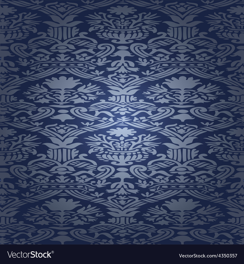 Blue silk seamless abstract floral background vector | Price: 1 Credit (USD $1)