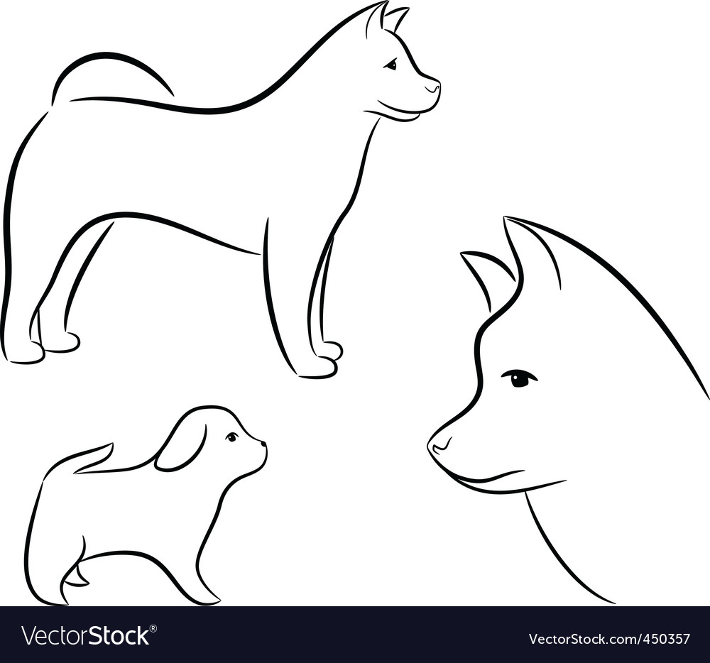 Cartoon silhouette of a dog vector | Price: 1 Credit (USD $1)