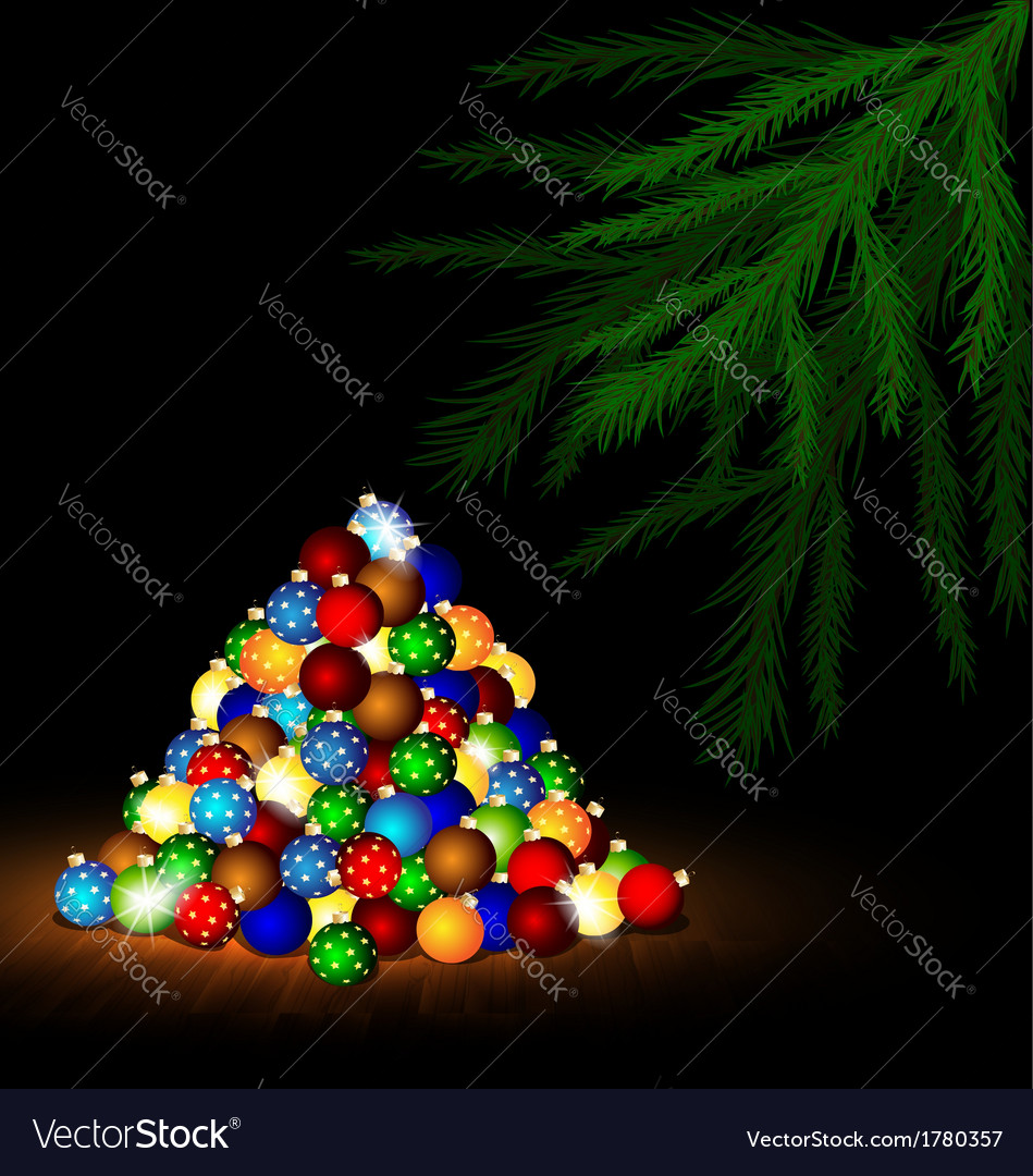 Christmas ball and branch of tree vector | Price: 1 Credit (USD $1)