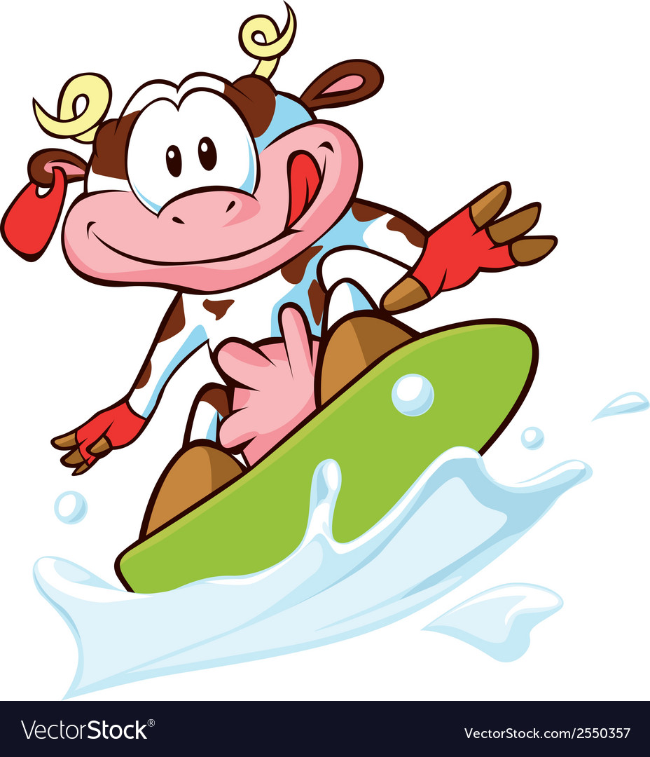 Cow surfing vector | Price: 1 Credit (USD $1)