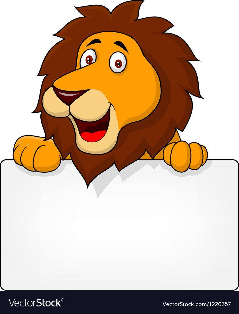 Cute lion with blank sign vector | Price: 1 Credit (USD $1)