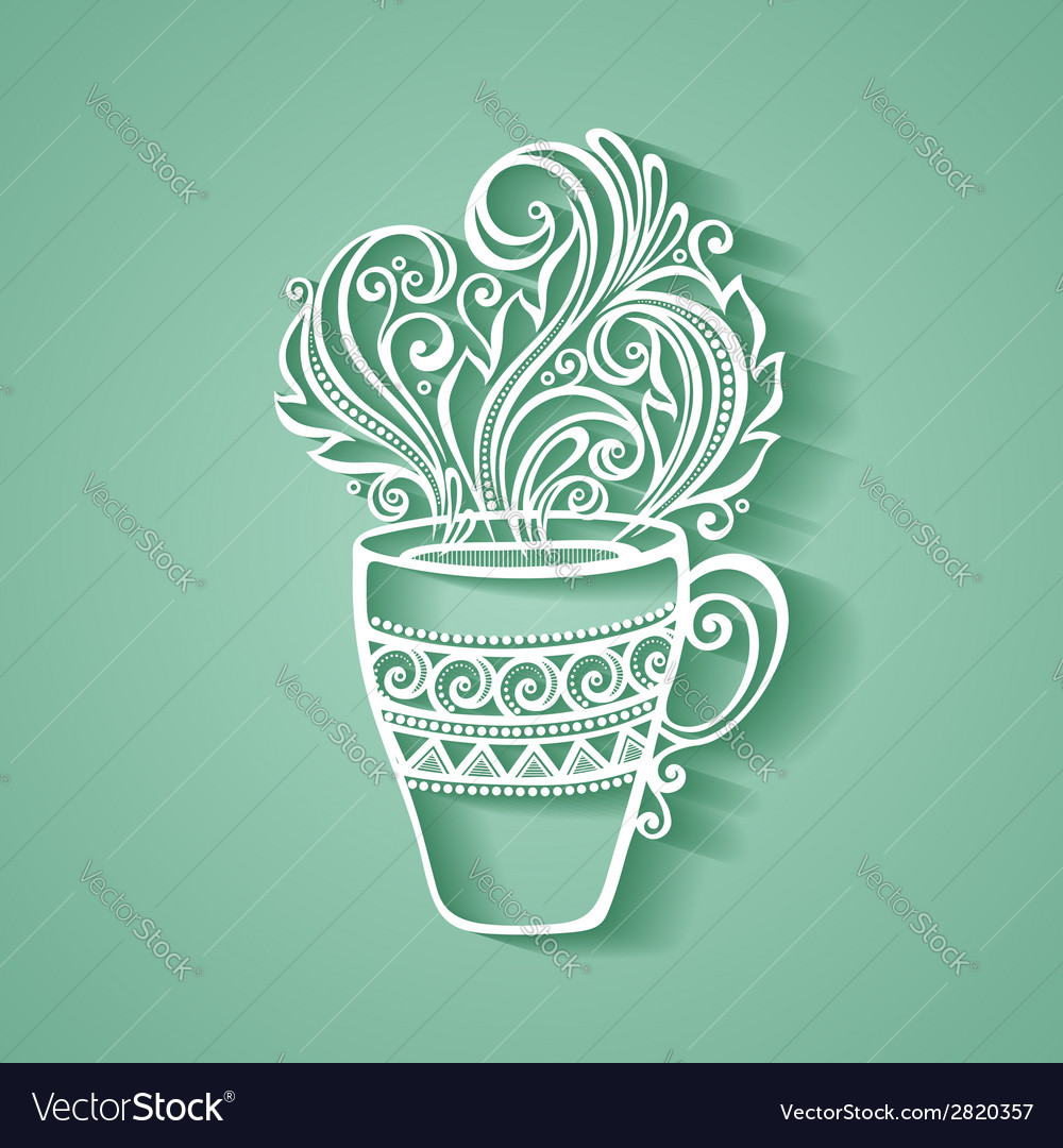 Decorative cup of tea vector | Price: 1 Credit (USD $1)