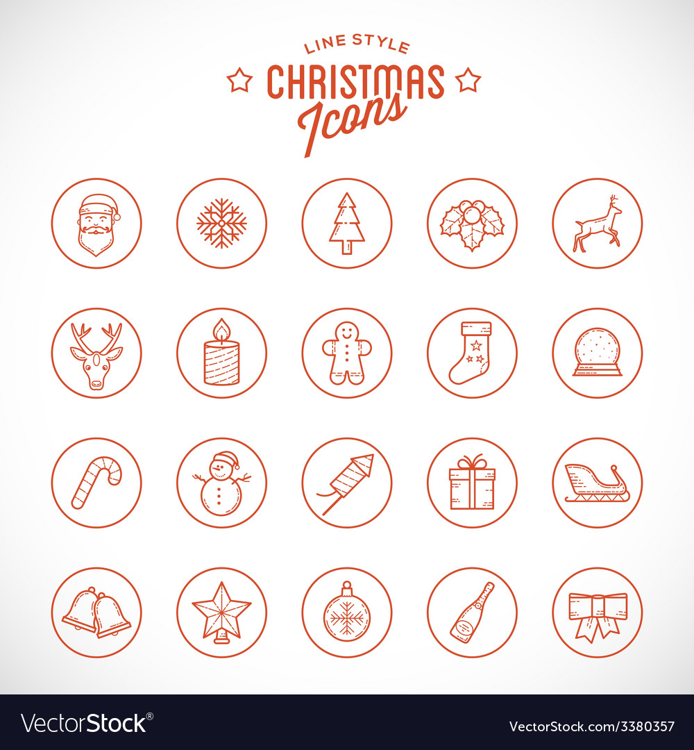 Line style christmas and new year icon set with vector | Price: 1 Credit (USD $1)