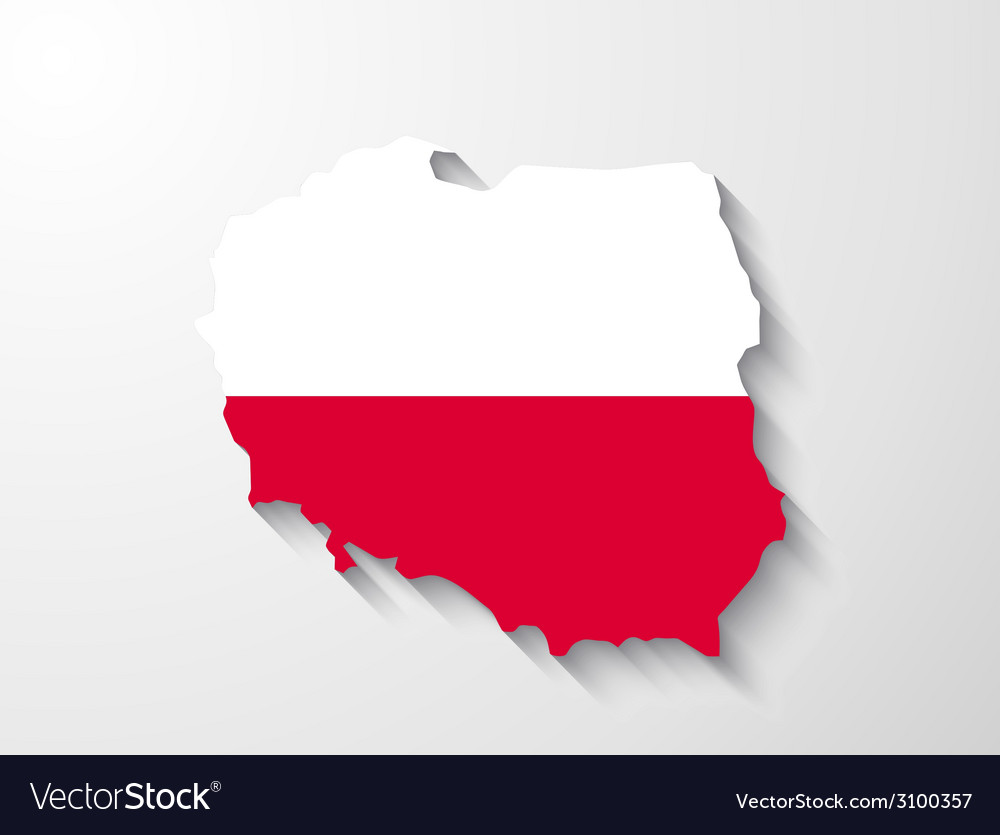 Poland map with shadow effect presentation vector | Price: 1 Credit (USD $1)