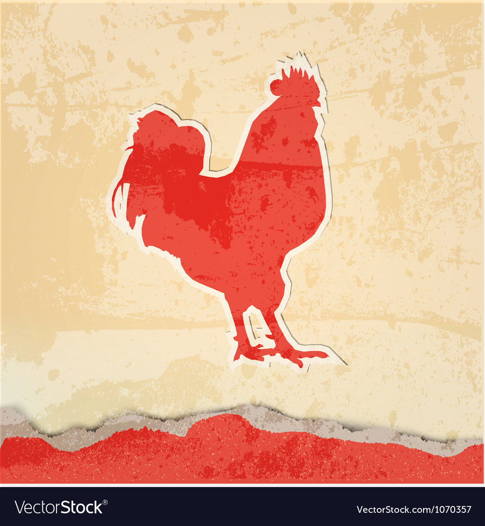 Red rooster retro poster vector | Price: 1 Credit (USD $1)