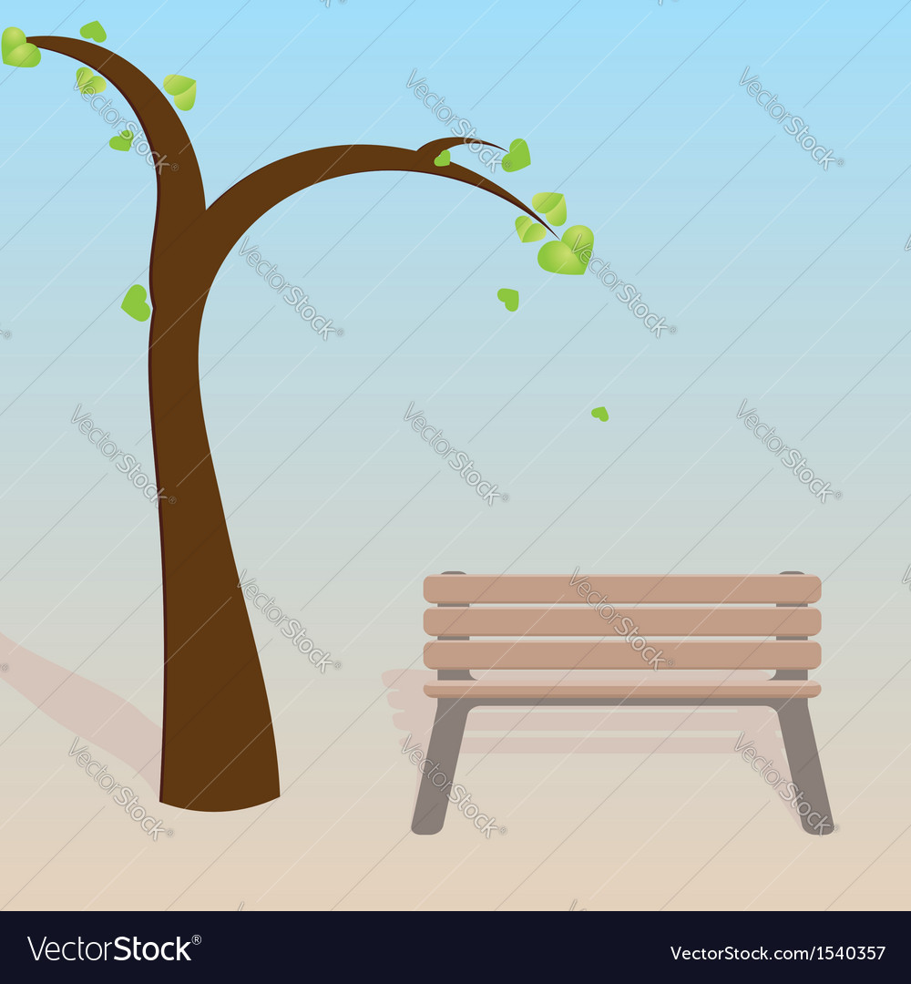 Spring tree with bench vector | Price: 1 Credit (USD $1)