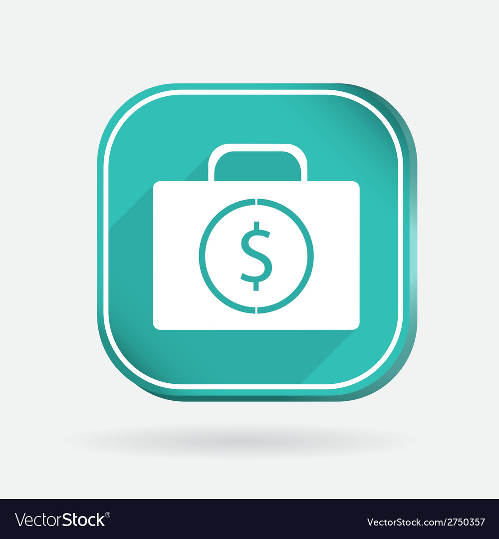 Suitcase with money color square icon vector | Price: 1 Credit (USD $1)