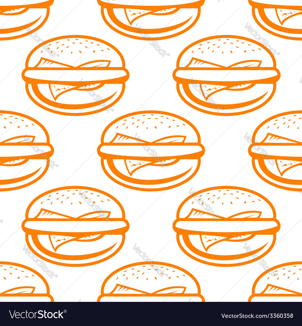Cheeseburger seamless pattern vector | Price: 1 Credit (USD $1)