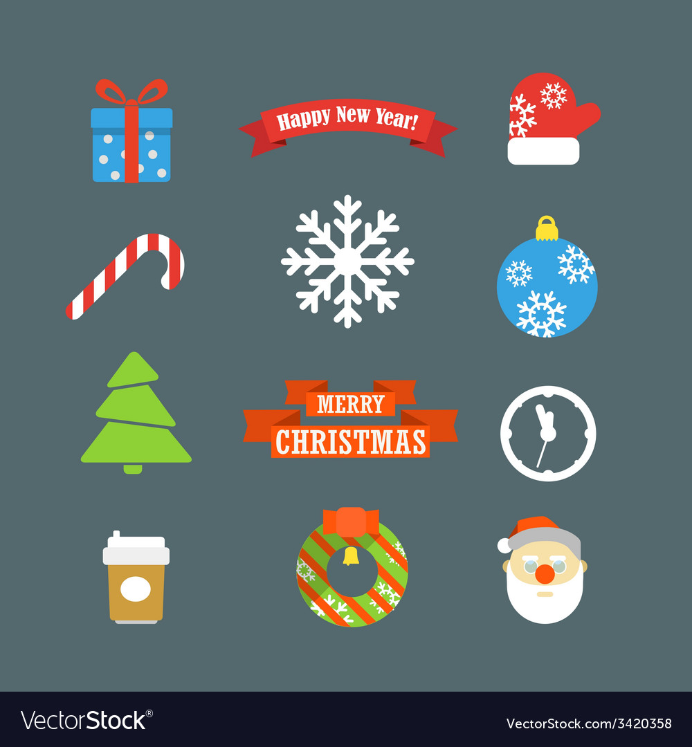 Christmas elements collection vector | Price: 1 Credit (USD $1)