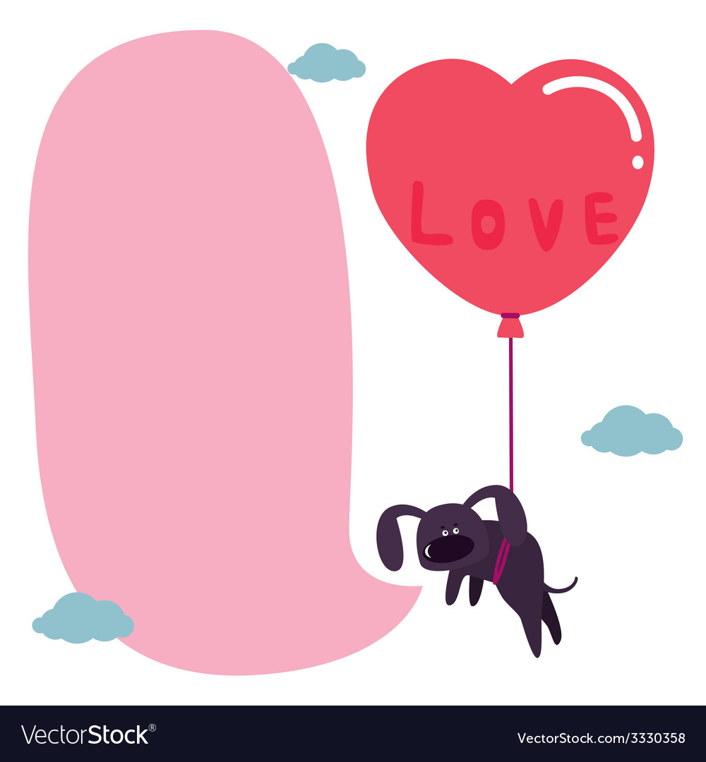 Design with cute dog with balloon vector   Price: 1 Credit (USD $1)