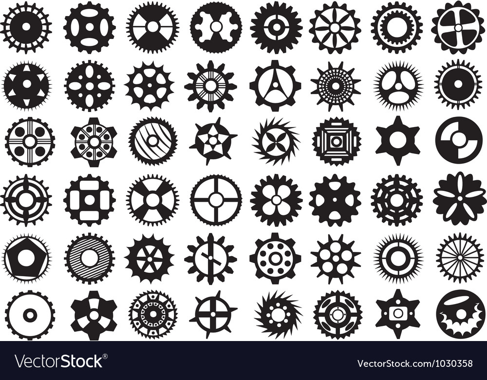 Gears set vector | Price: 1 Credit (USD $1)