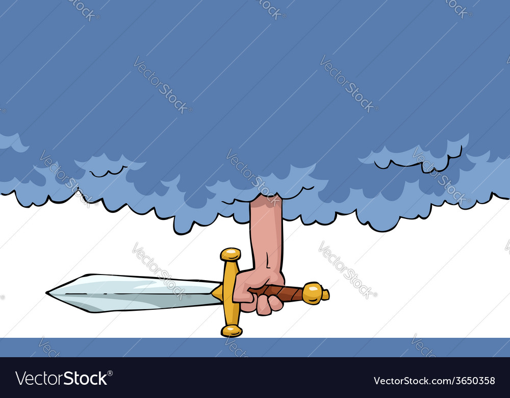 Hand from a cloud with a sword vector | Price: 1 Credit (USD $1)
