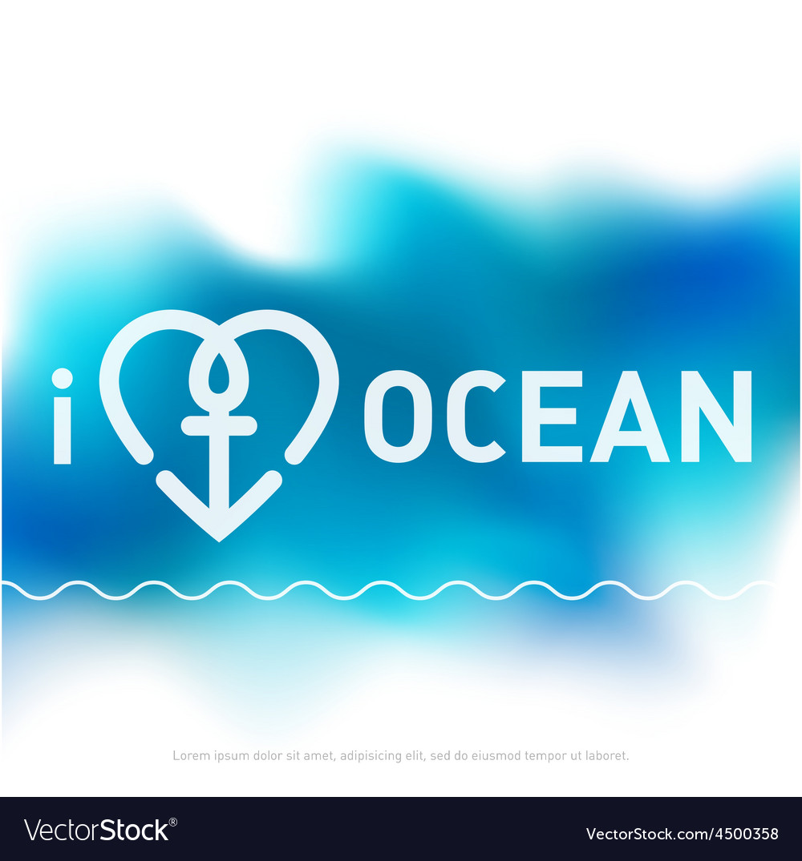 I love ocean - cover for brochure in blue tones vector | Price: 1 Credit (USD $1)