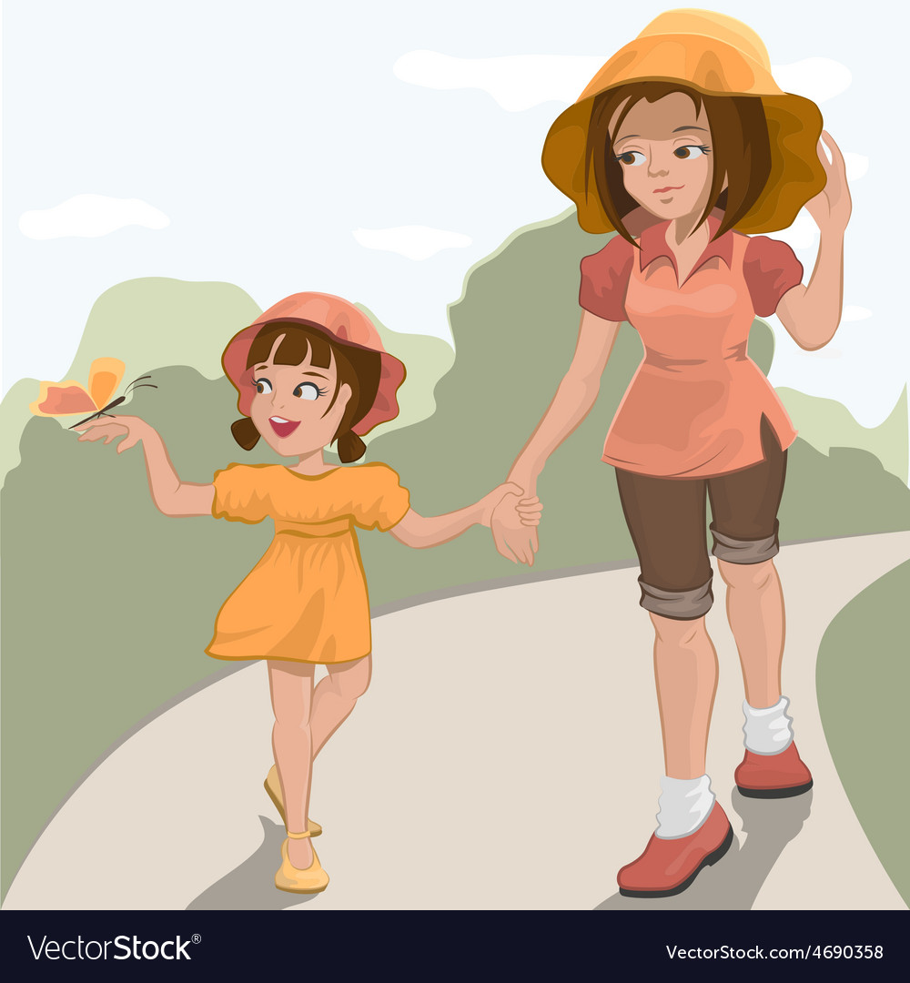 Mother walks with her daughter in the park vector | Price: 3 Credit (USD $3)
