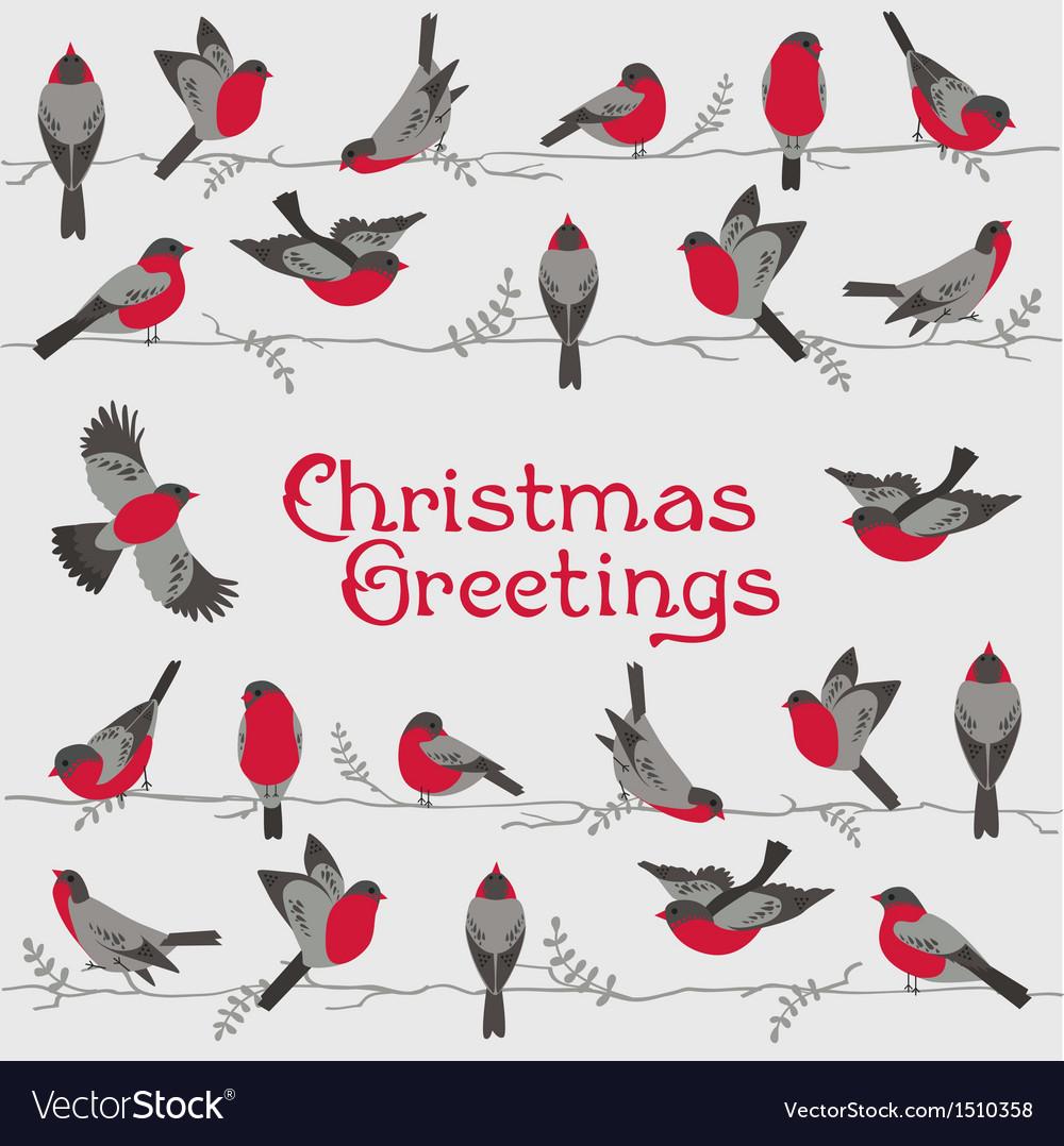 Retro christmas card - winter birds vector | Price: 1 Credit (USD $1)