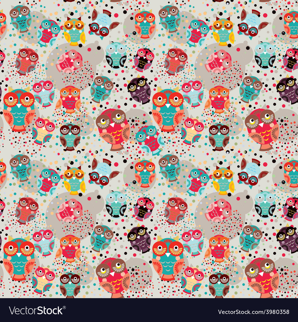 Seamless pattern with colorful owls on cream vector | Price: 1 Credit (USD $1)