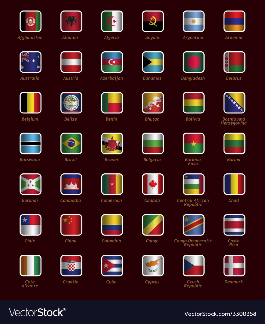 Set of buttons with flags vector | Price: 1 Credit (USD $1)