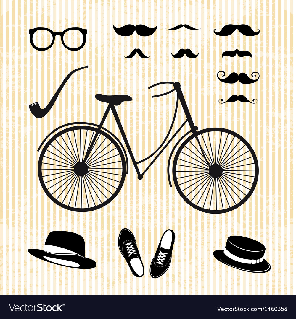 Set of the hipster with bicycle vector | Price: 1 Credit (USD $1)