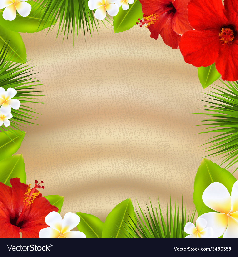 Tropical poster with flowers vector | Price: 1 Credit (USD $1)