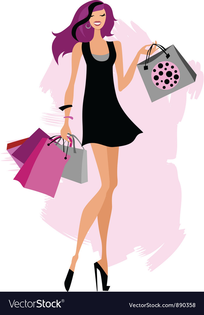 Woman shopping bags vector | Price: 3 Credit (USD $3)