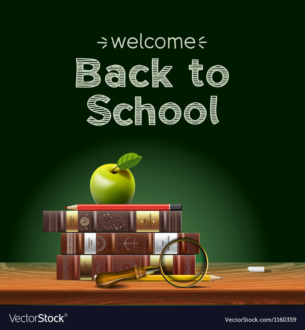 Back to school school books with apple on desk vector | Price: 3 Credit (USD $3)