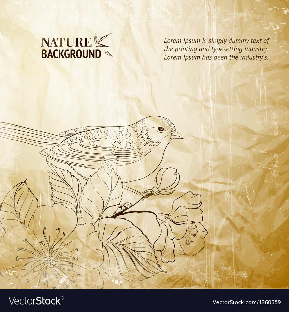Bird on twig vector   Price: 1 Credit (USD $1)