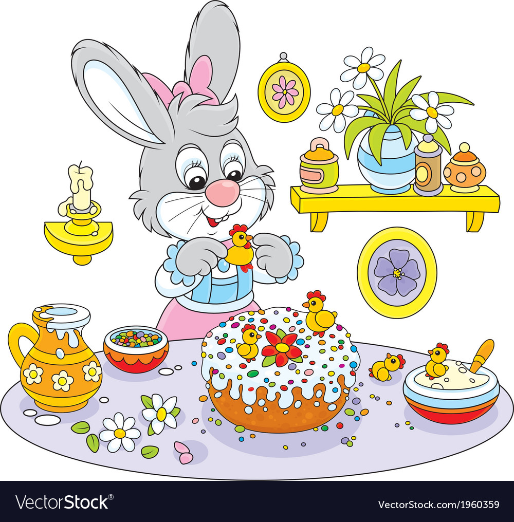 Bunny cooks a holiday cake to easter vector | Price: 1 Credit (USD $1)