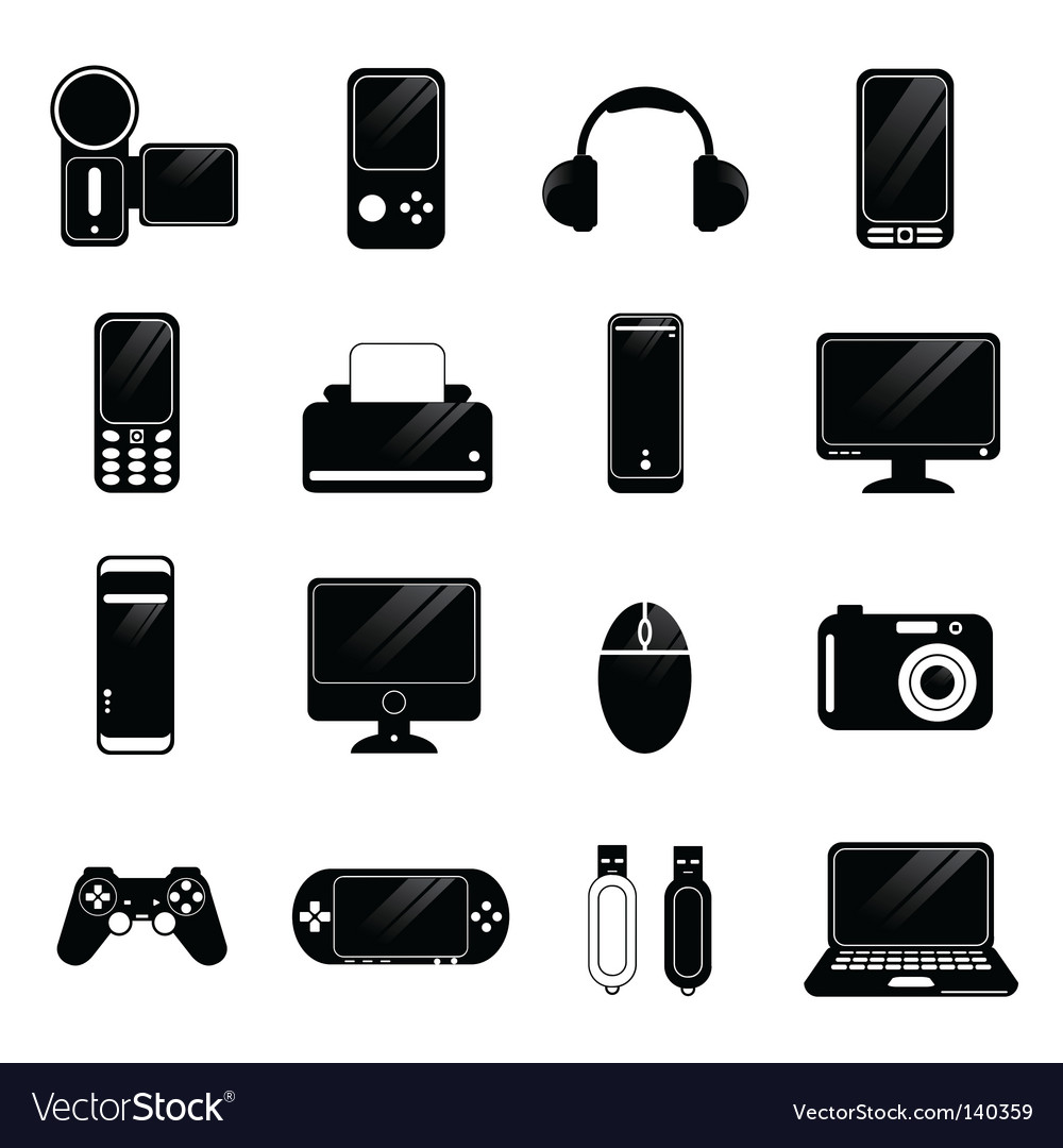 Electronic icons vector | Price: 1 Credit (USD $1)
