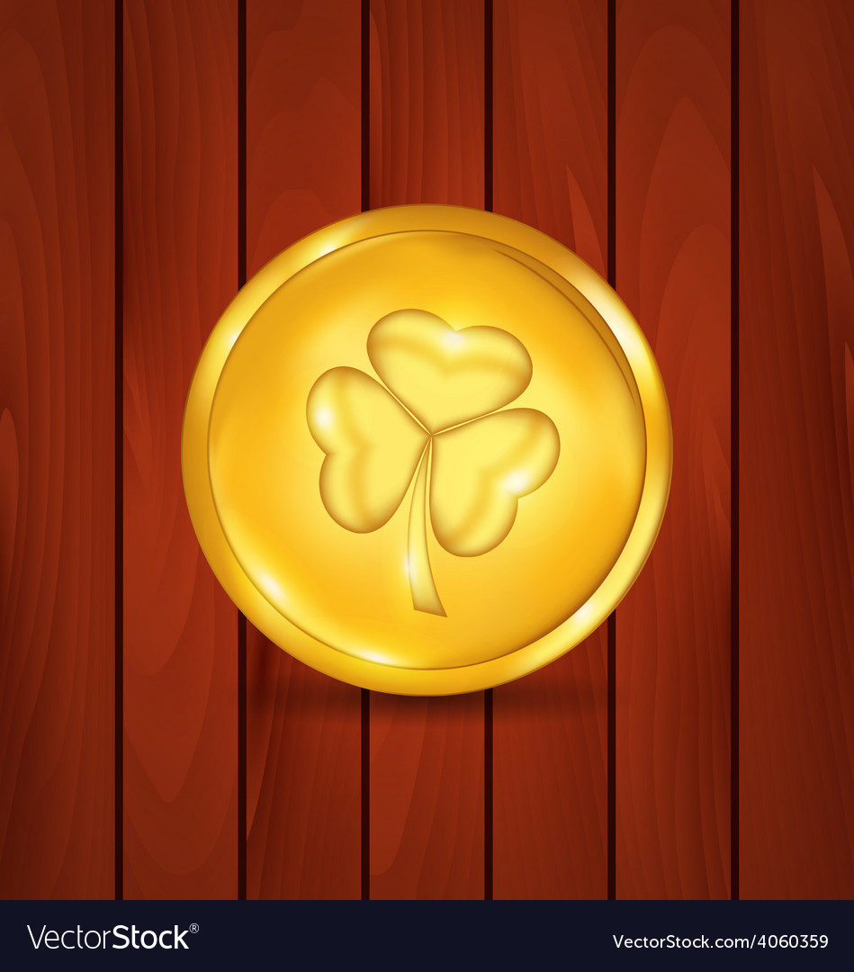 Golden coin with clover on brown wooden texture vector | Price: 1 Credit (USD $1)