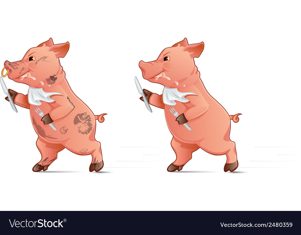 Hungry pig vector | Price: 3 Credit (USD $3)