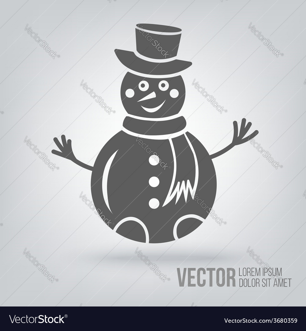 Icon snowman isolated black on white background vector | Price: 1 Credit (USD $1)