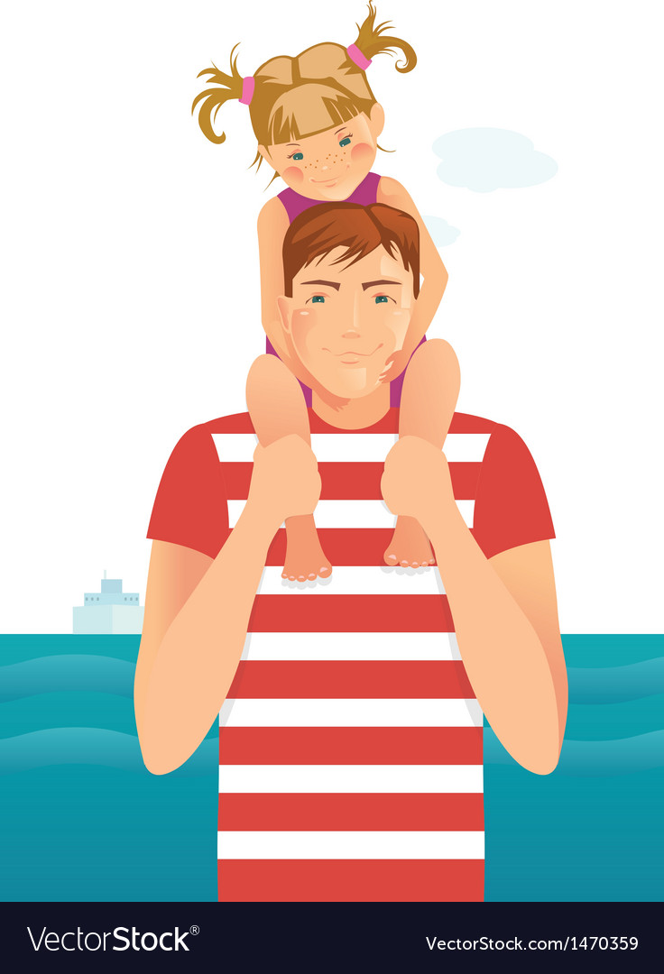 Man with little girl vector | Price: 3 Credit (USD $3)