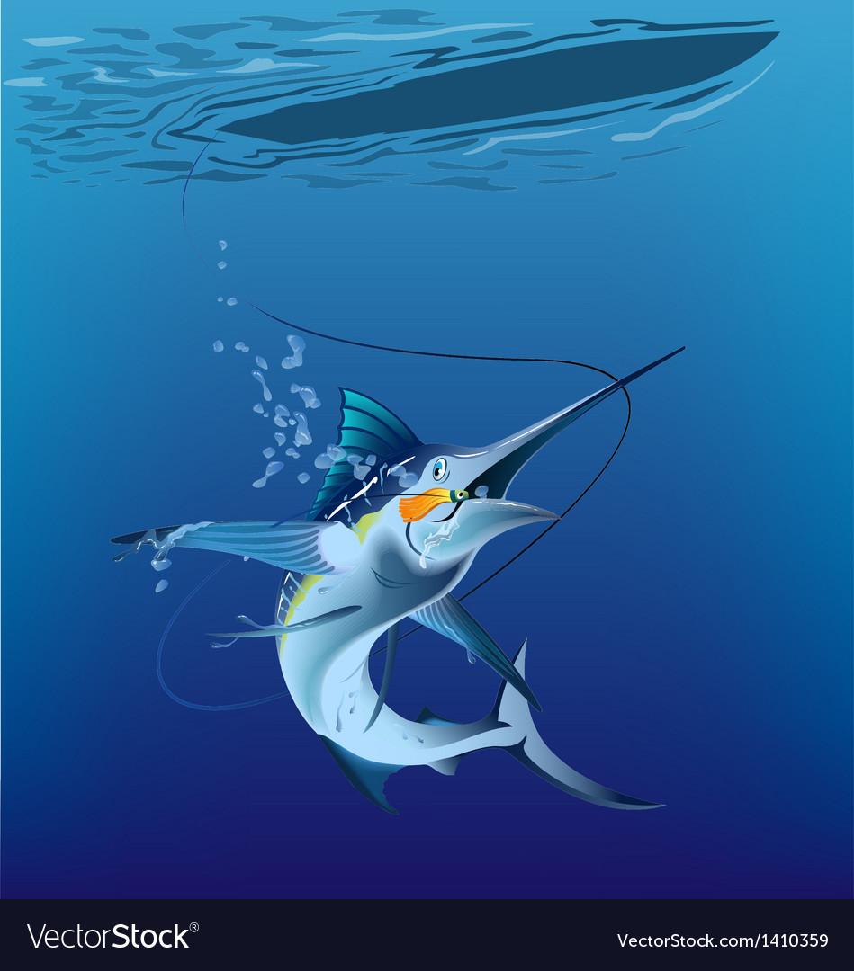 Marlin under the sea vector | Price: 1 Credit (USD $1)