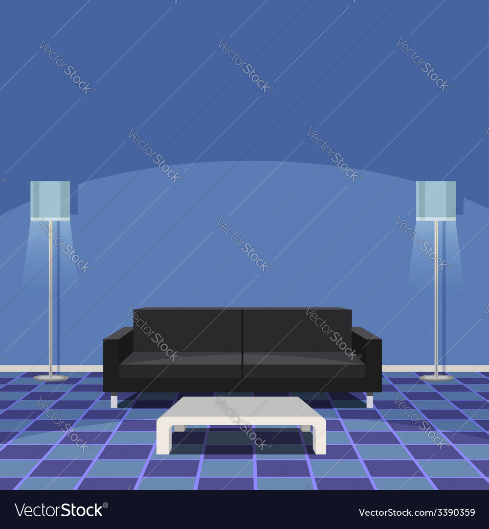 Modern living room - blue vector | Price: 1 Credit (USD $1)